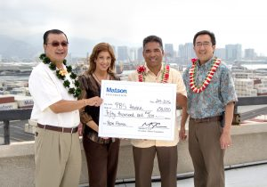 Matson Giving provides grant to PBS Hawaii team on rooftop overlooking city.
