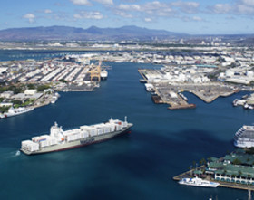 Matson containership entering port of Honolulu.