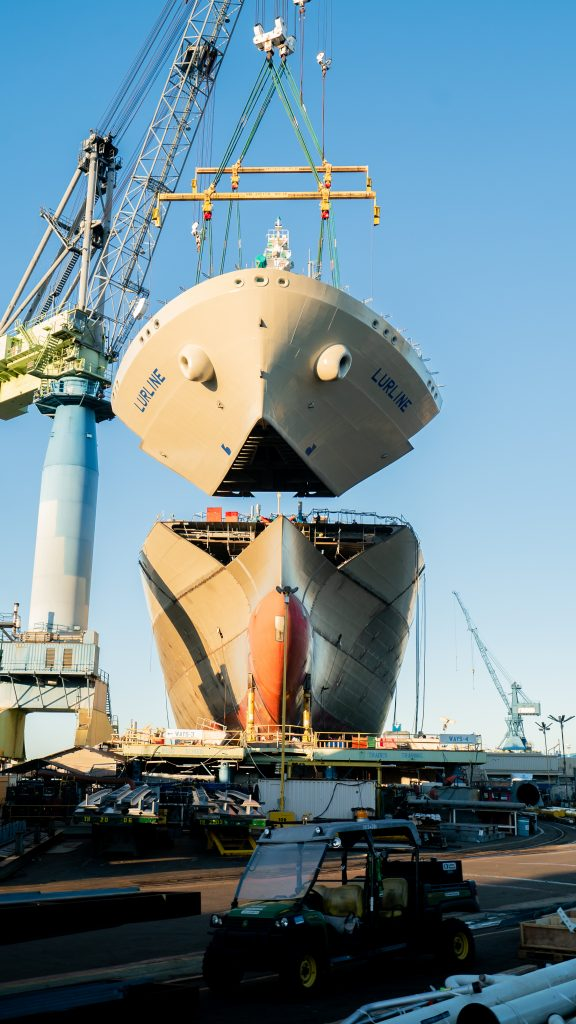 Lurline's blow is lowered into position at NASSCO