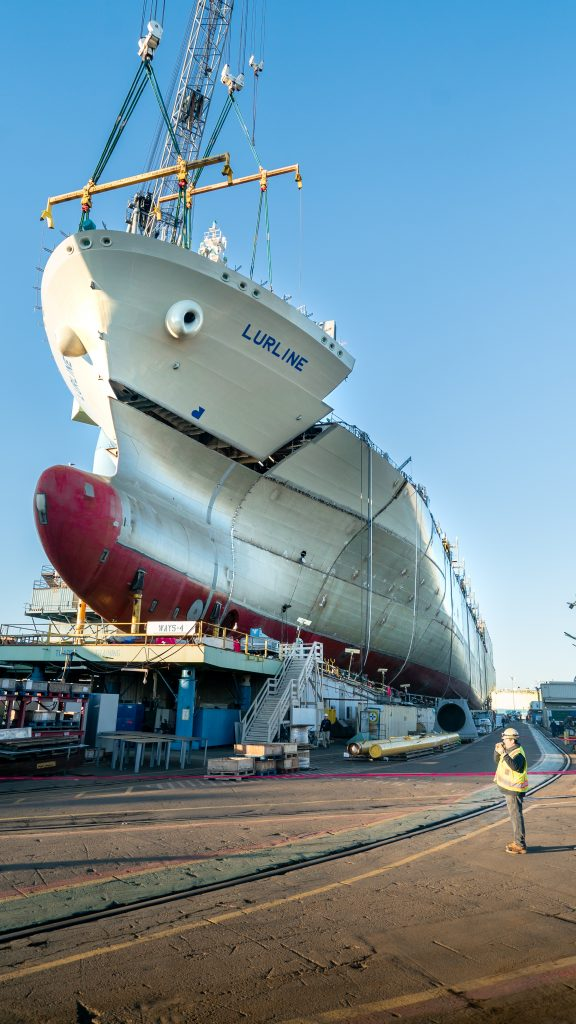 Lurline's bow is lowered into position
