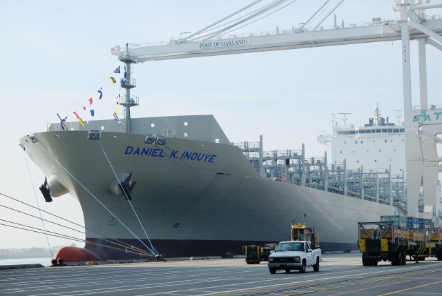 Daniel K. Inouye docked at Port of Oakland awaiting containers.