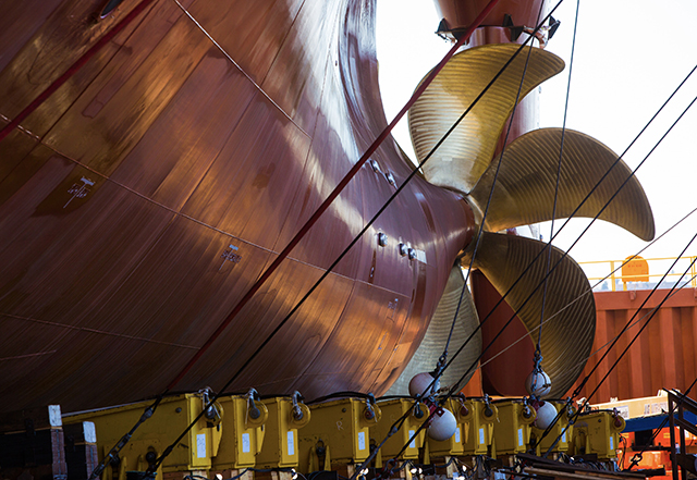 Lurline's propeller is out of the water as the ship is prepared for launch.