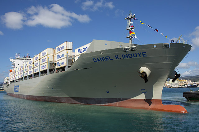 DKI loaded with containers arriving Honolulu