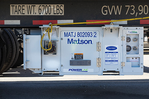 Closer look at Matson reefer control panel