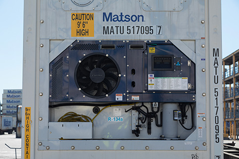 Close look at Matson reefer's control panel for temperature reading and setting
